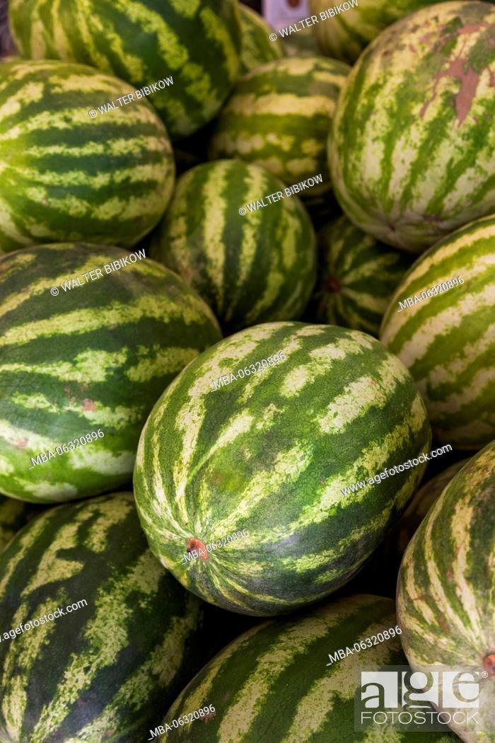 Stock Photo: Iran, Tehran, fruit market, melons.