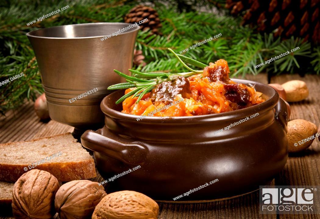 Stock Photo: Sauerkraut in Polish kind with smoked meat.