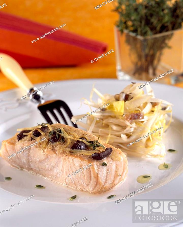 Stock Photo: Salmon in papillote and an endive salad - Recipe of Guy Martin - Le Grand Véfour Restaurant - Paris - France.