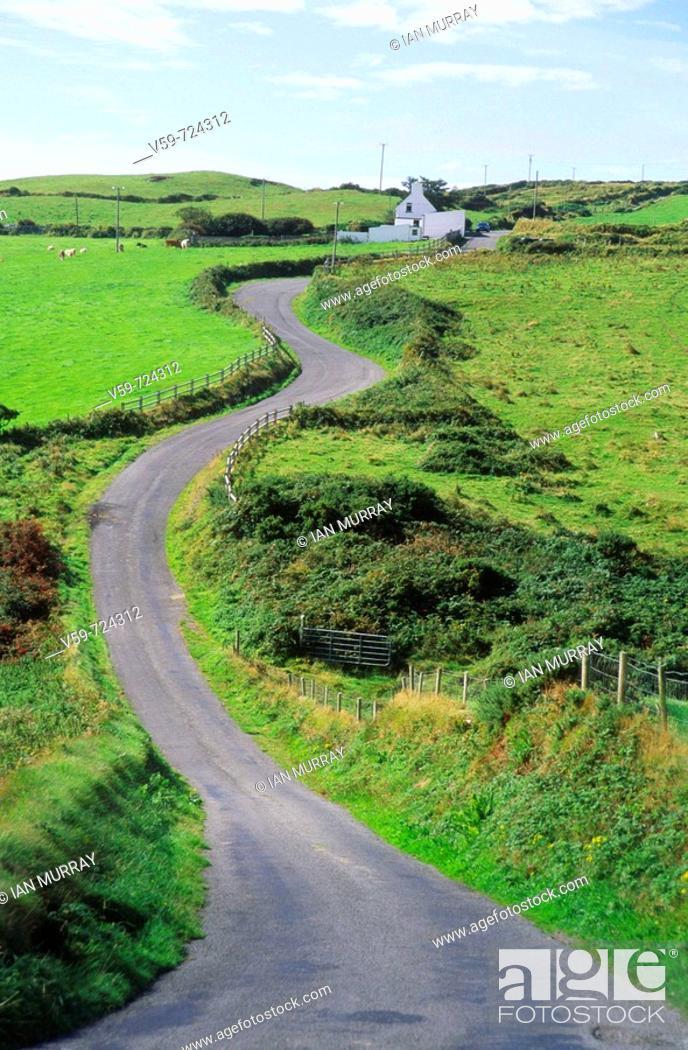 Stock Photo: Winding narrow road,  Dursey Head peninsula, Ring of Beara, County Clare, Ireland.