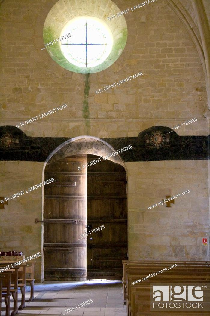 Stock Photo: France, Poitou Charentes province, Departement of Charente Maritime 17, Genouillé   Inside church of the village with nice light and its 'litre'.