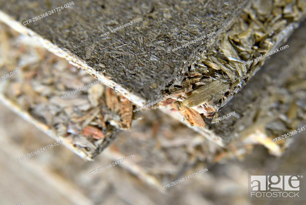 Stock Photo: Stack of oriented strand - chipboard.