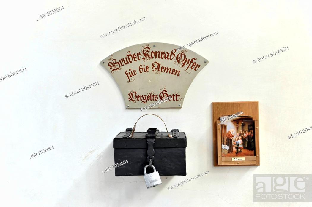 Stock Photo: Bruder Konrad offertory box, Peterskirche church, St. Peter's Church, Munich, Bavaria, Germany, Europe.