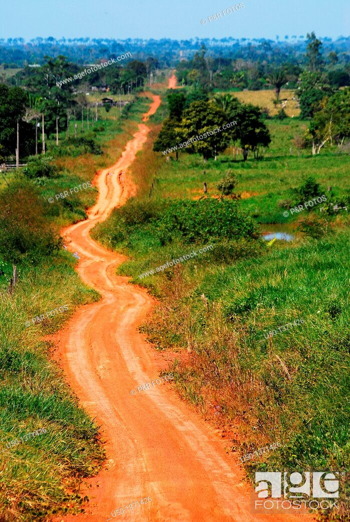 Stock Photo: View of a earth road in Amazon region Ramal Nabor Júnior, Projeto de Assentamento Pedro Peixoto, Senador Guiomard, Acre, Brazil, 2009.