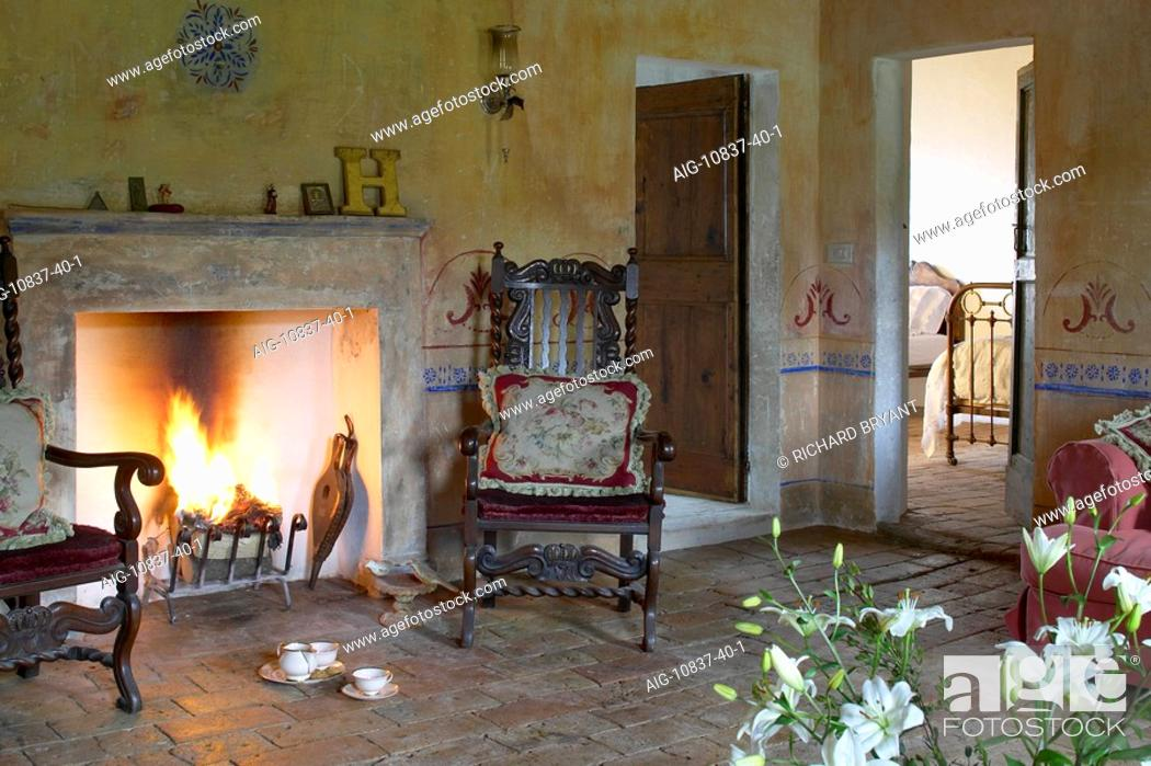 La Colombaia Tuscan Farmhouse Interior With Fireplace Stock