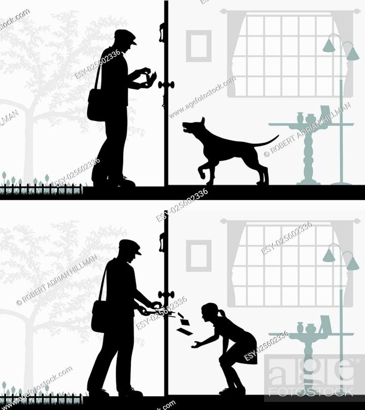 Stock Vector: Two editable vector illustrations of mail being delivered to a house.