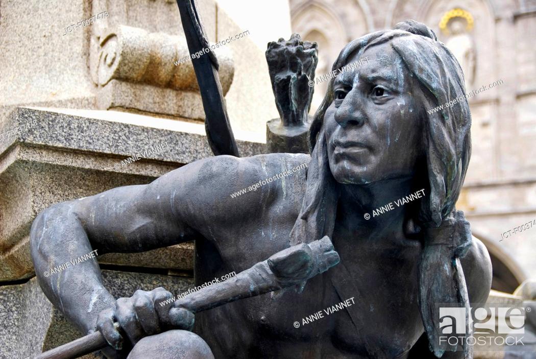 Stock Photo: Canada, Quebec, Montreal, iroquois statue.