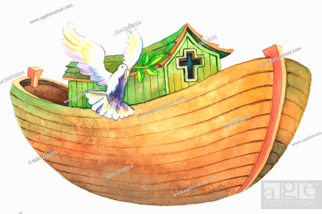 Stock Photo: Flower, Watercolor painting of an ark and a flying dove.