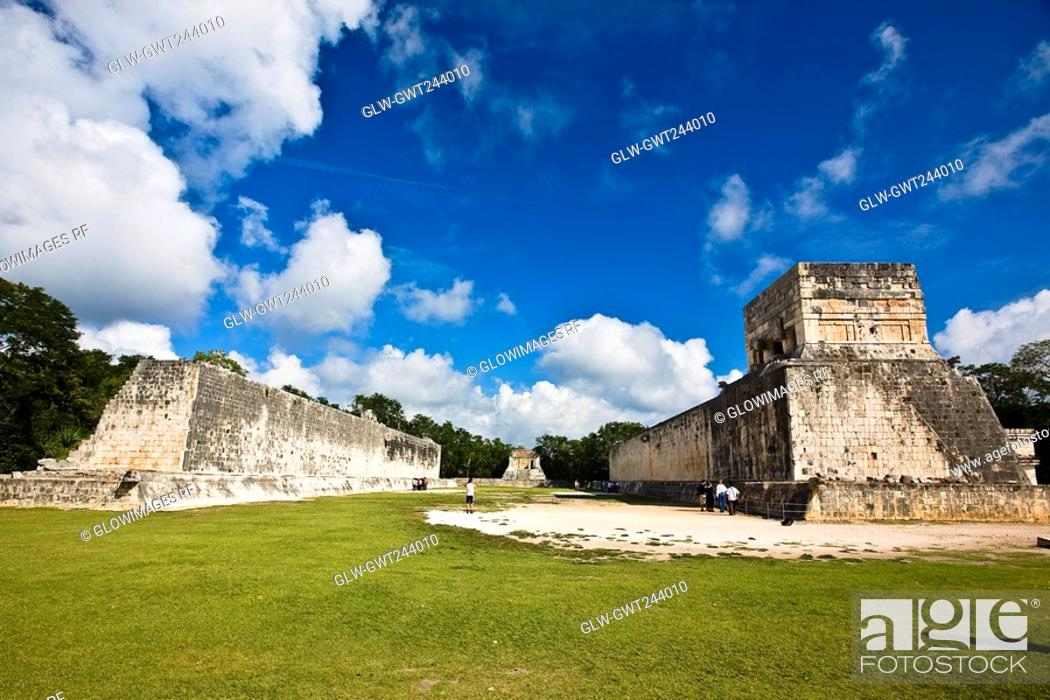 Stock Photo: Old ruins of buildings on a landscape, Ball Court Ring, Chichen Itza, Yucatan, Mexico.