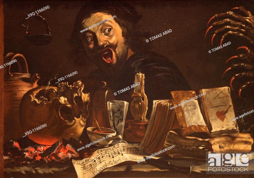 Stock Photo: Magic Scene with Self-Portrait, ca. 1638-39, by Pieter van Laer, called Il Bamboccio, Dutch, 31 1/2 x 45 1/4 in., (80 x 114.