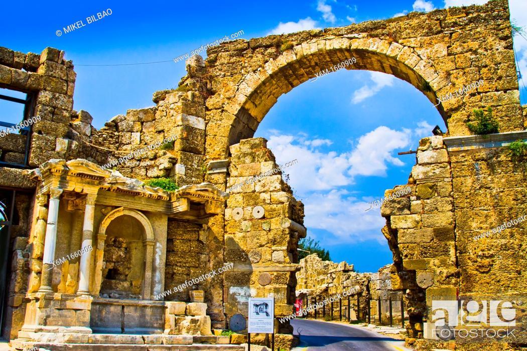 Stock Photo: Side  Ancient city ruins  Province of Antalya  Mediterranean coast  Turkey.
