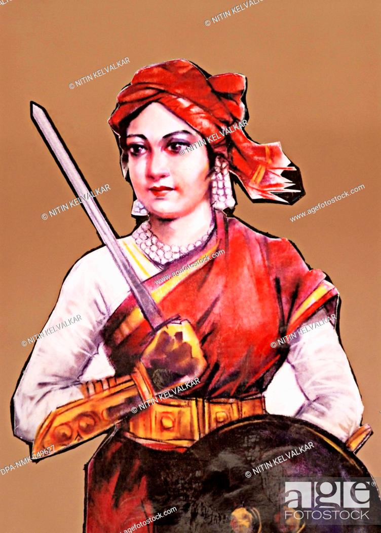 Portrait Of Rani Laxmibai Queen Of Jhansi Great Freedom Fighter Of