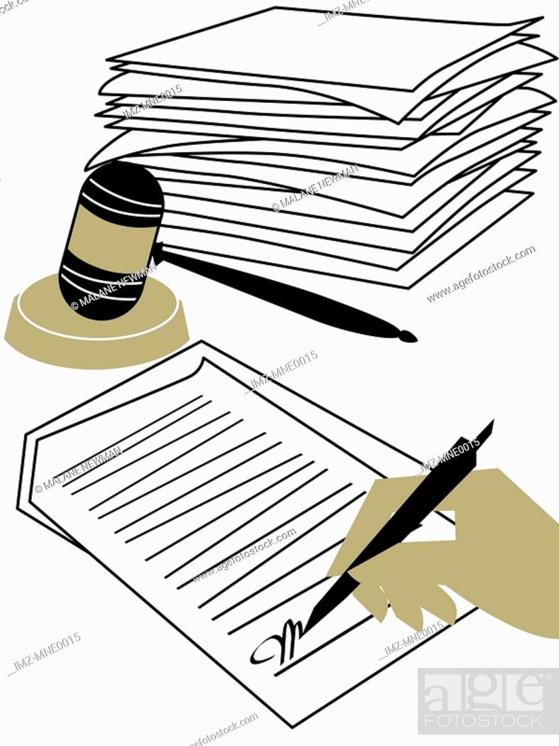Stock Photo: A hand signing a contract, a stack of documents and a judges gavel.
