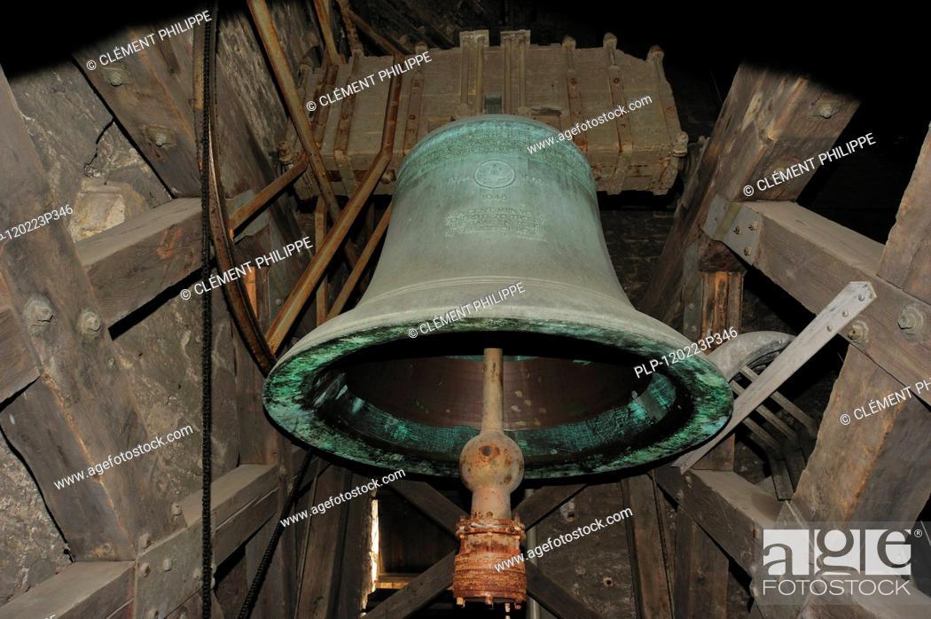 Stock Photo: The medieval bronze alarm bell Roland / Klokke Roeland in the belfry of Ghent, Belgium.
