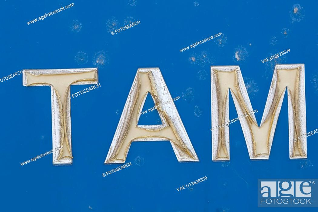 Stock Photo: Blue, Capital Letter, Close-Up.