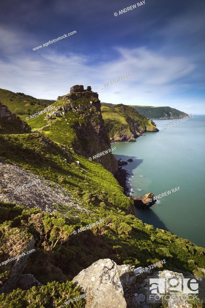 Stock Photo: Wringcliff Bay near the Valley of the Rocks in the Exmoor National Park.