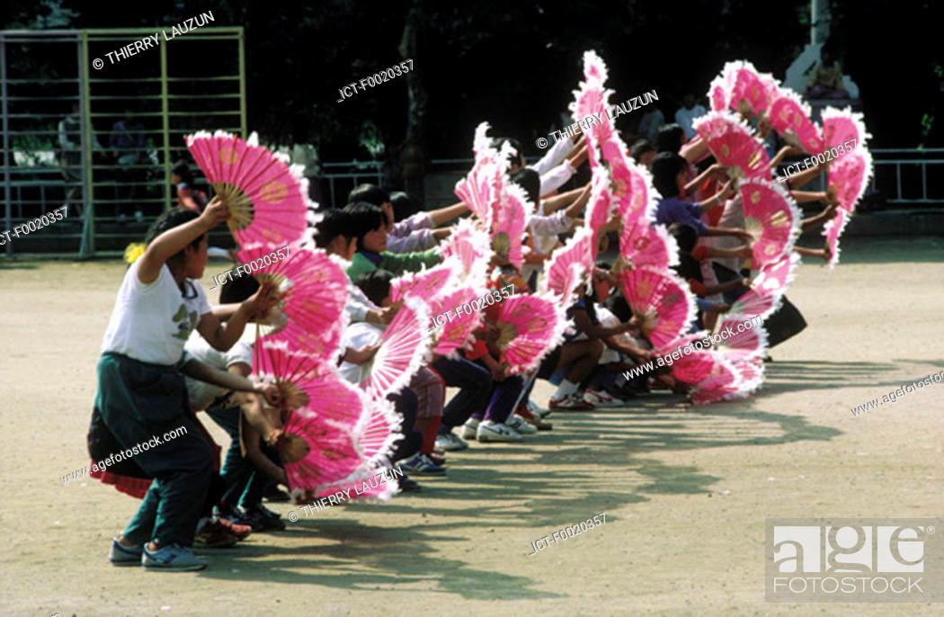Stock Photo: South Korea, near Kosong, traditional Korean fan dance.