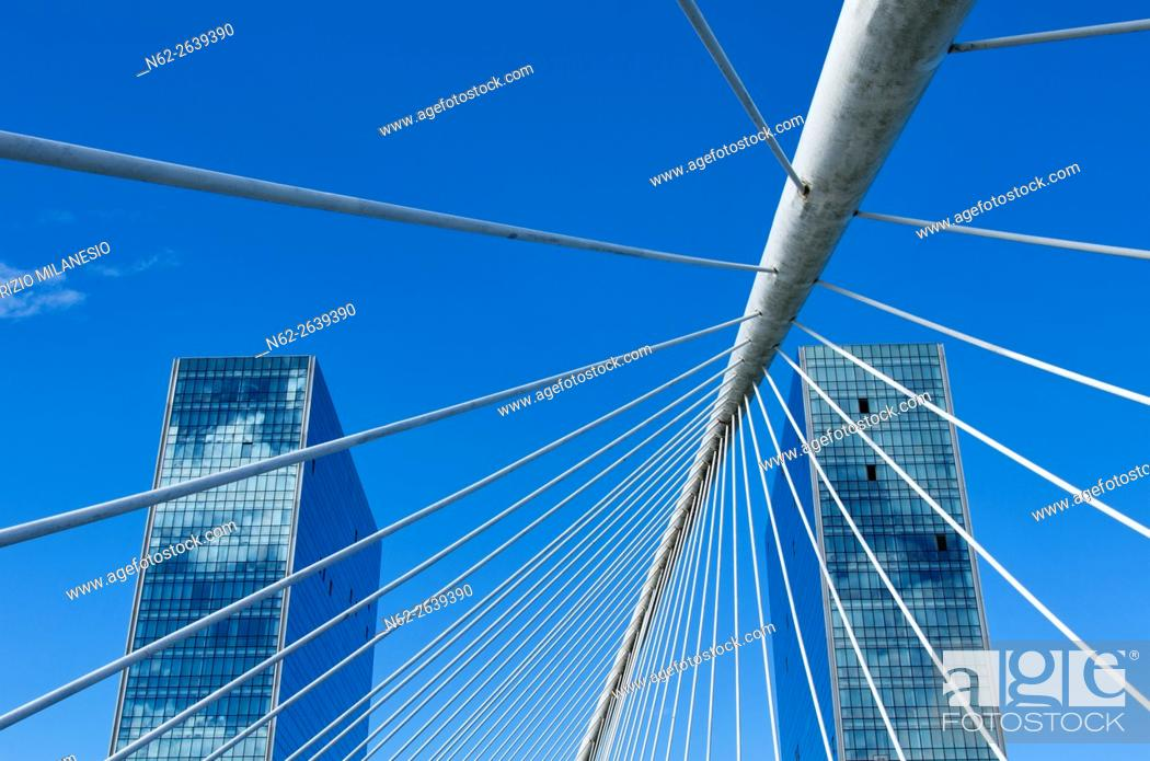 Stock Photo: Details of the Zubizuri Bridge, in Bilbao, Biscay, Basque Country, Spain, it is a modern arch bridge that hangs over the river Nervin.