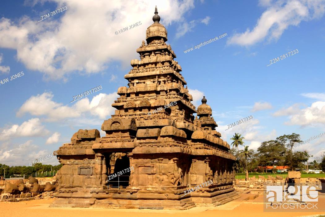 Stock Photo: The Shore Temple, Mahabalipuram, UNESCO World Heritage Site, Near Chennai, Tamil Nadu state, India, Asia.