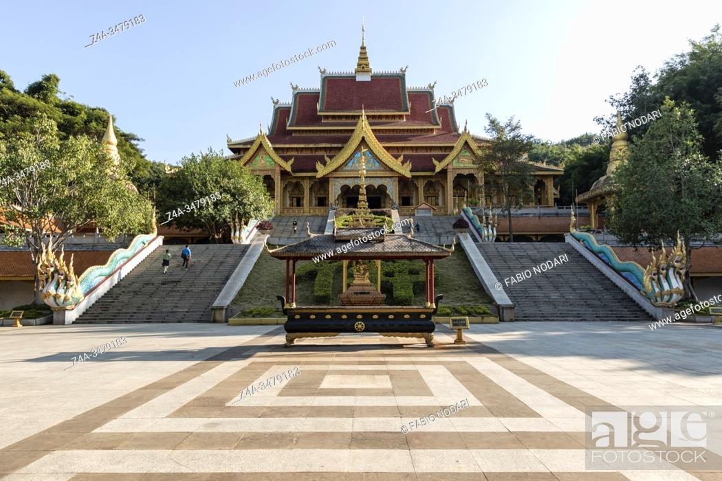 Stock Photo: Jinghong, China - January 2, 2020: Mengle Temple in Jinghong - Xishuangbanna capital in Yunnan.