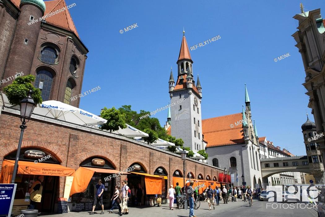 Stock Photo: Viktualienmarkt and old town hall background Munich, Germany.
