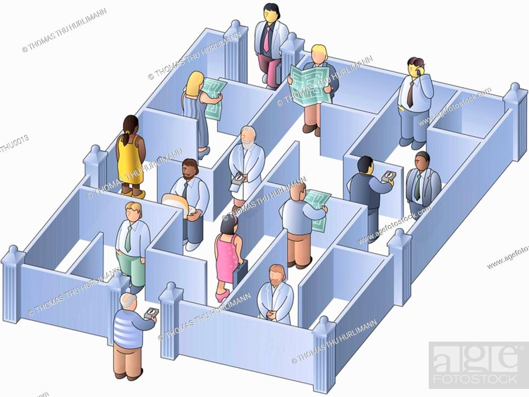 Stock Photo: People holding maps in their hands and walking through a maze.