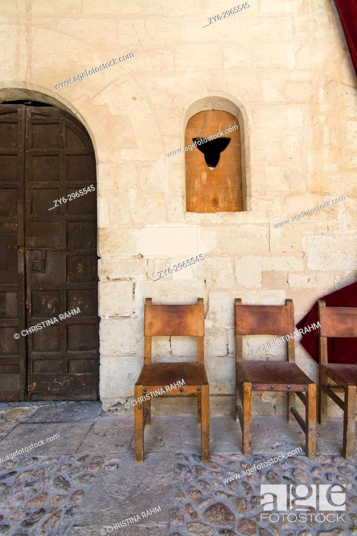 Stock Photo: Bellver castle interior details on a sunny summer day in Palma de Mallorca, Balearic islands, Spain.