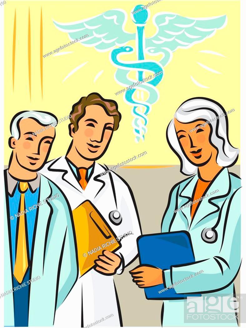 Stock Photo: Doctors standing near a caduceus symbol.