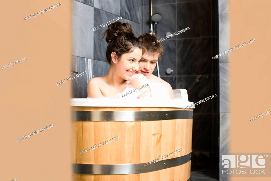 having a bath together
