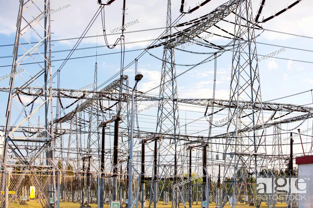 Stock Photo: Electric pylons at power plant.