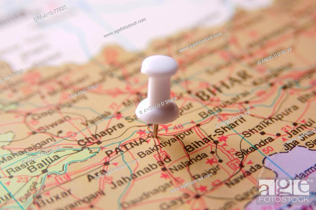 Patna In India Map.Map Of India Spotted Patna Capital Of Bihar By White Colored Board