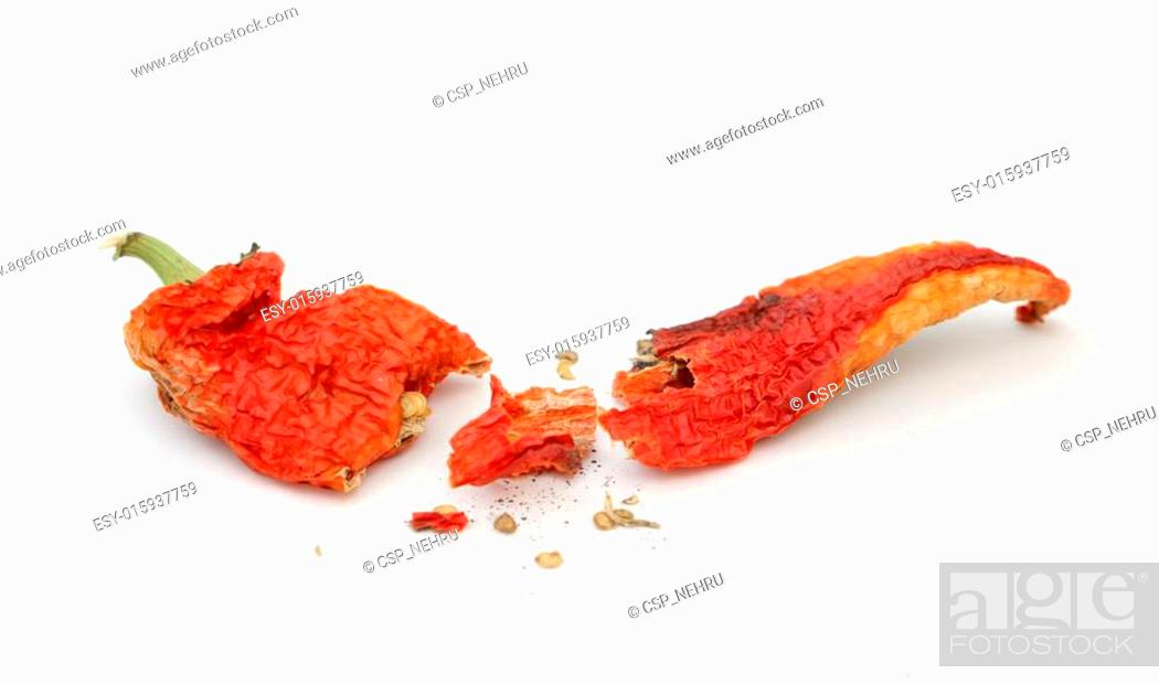 Stock Photo: red hot dried pepper.
