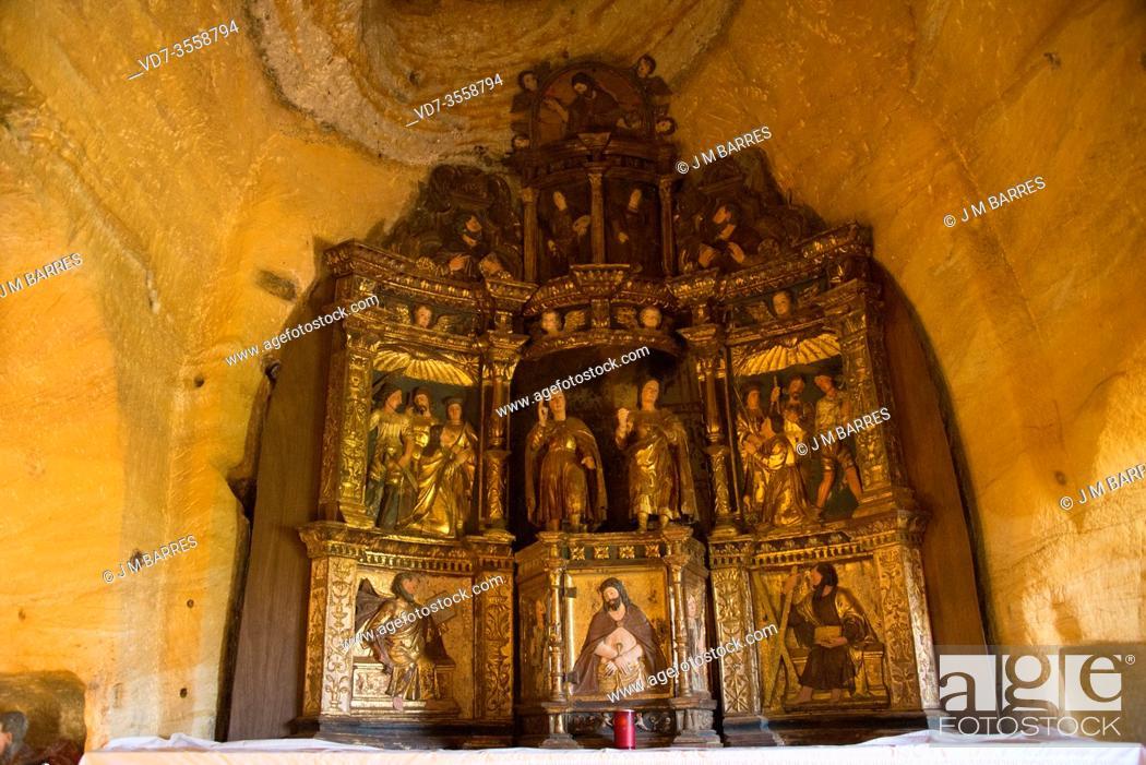 Stock Photo: Santos Justo y Pastor hermitage is a cave church from 9th century. Olleros de Pisuerga, Palencia province, Castilla y Leon, Spain.