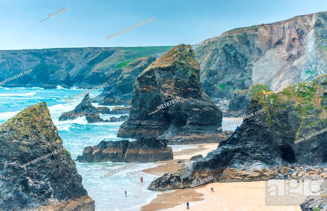 Stock Photo: Bedruthan Steps, near Newquay, Cornwall, England, Great Britain.