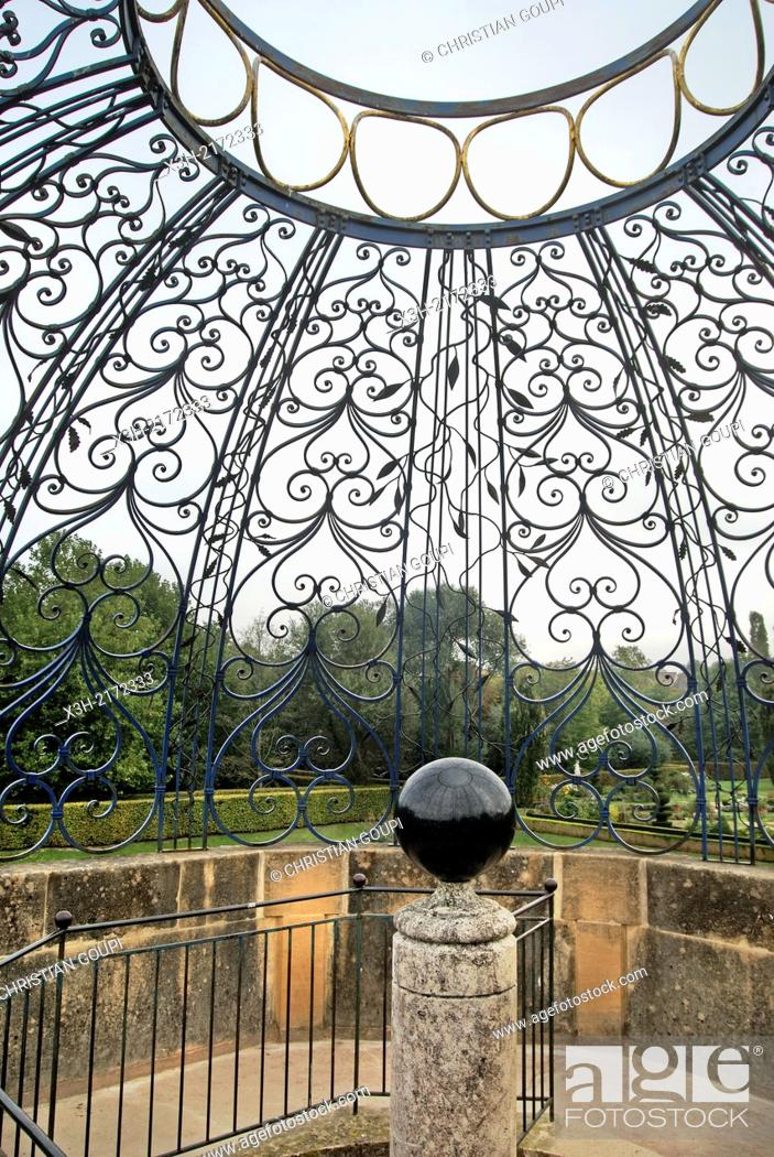 Stock Photo: wrought iron dome by Michel et J.Y. Bouillot, iron craftsmen - 1990 in the park of the Castle of Cormatin, Saone et Loire department, Burgundy region, France.