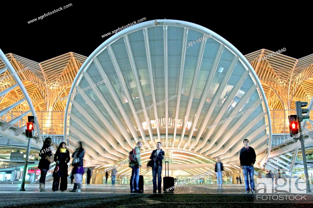 Stock Photo: Oriente Station, 1998, arq Santiago Calatrava, Nations Park, Lisbon, Portugal.