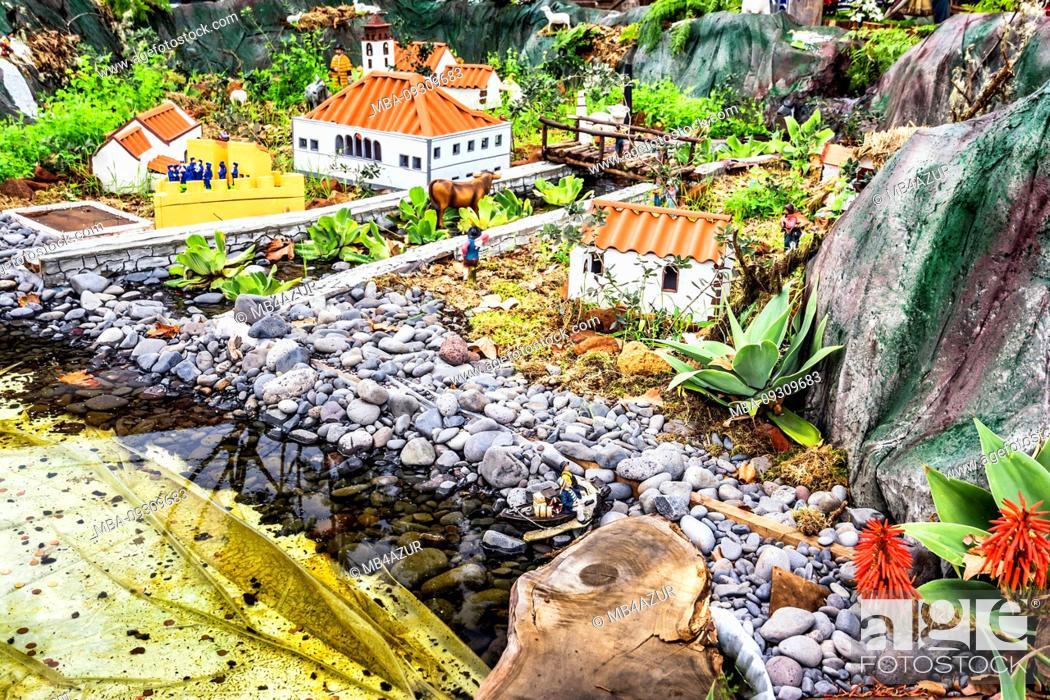 Stock Photo: Europe, Portugal, Madeira, Machico, old town, the oldest place in Madeira, diorama near the church of Nossa Senhora da Conceição.