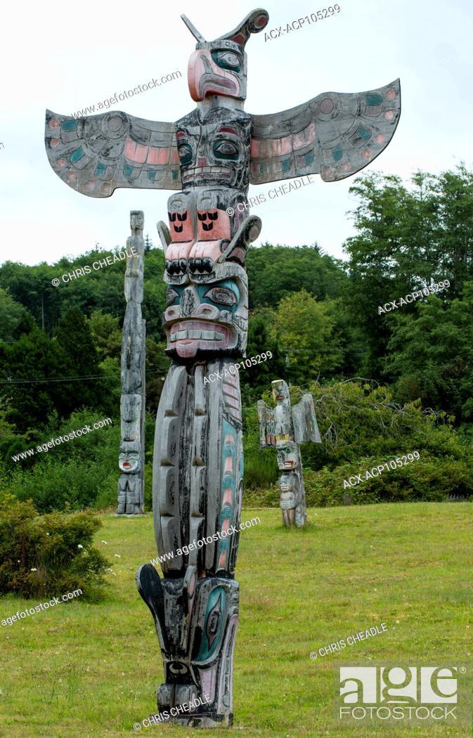 Stock Photo: Thunderbird, Sisiyutl by Don Svanik, Namgis Burial grounds, Alert Bay, Cormorant Island, Vancouver Island, British Columbia, Canada.