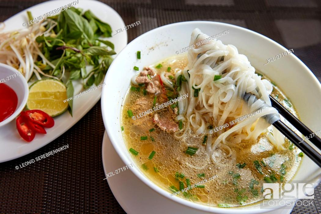 Stock Photo: Vietnamese Pho (Beef Noodle Soup). Hoi An, Quang Nam Province, Vietnam.