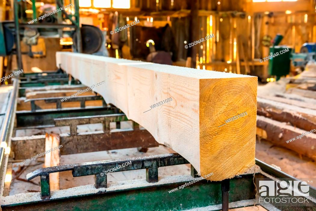 Stock Photo: Big wooden log in the timber factory.