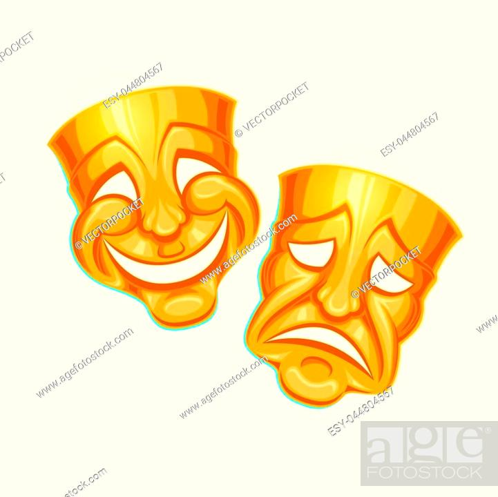 Vecteur de stock: Vector illustration of a golden comic and tragic theater mask in a cartoon style.