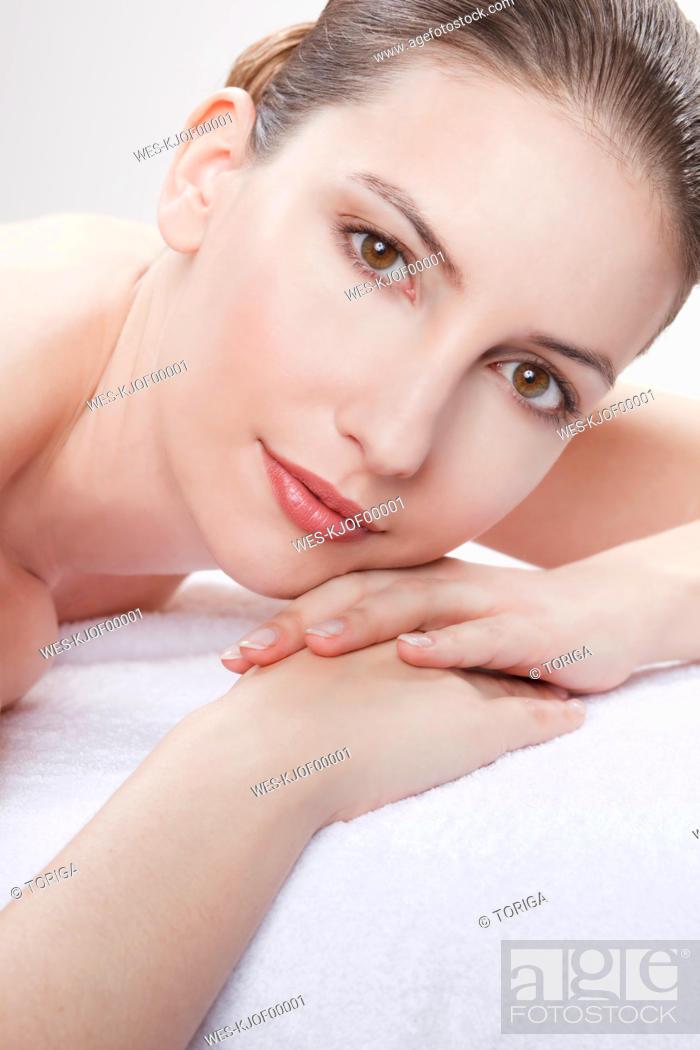 Stock Photo: Close up of woman having spa treatment, portrait.