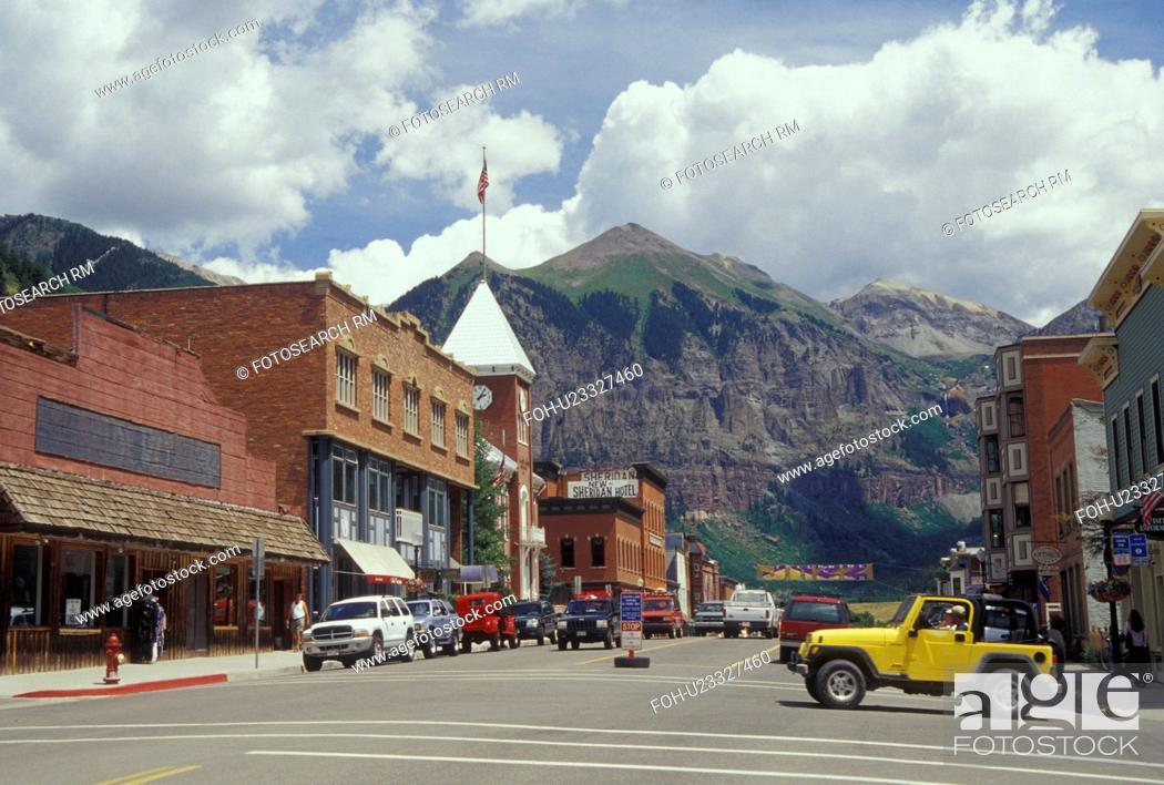 Stock Photo: Telluride, CO, Colorado, San Juan National Forest, San Juan Mountains, Downtown Telluride, resort town.