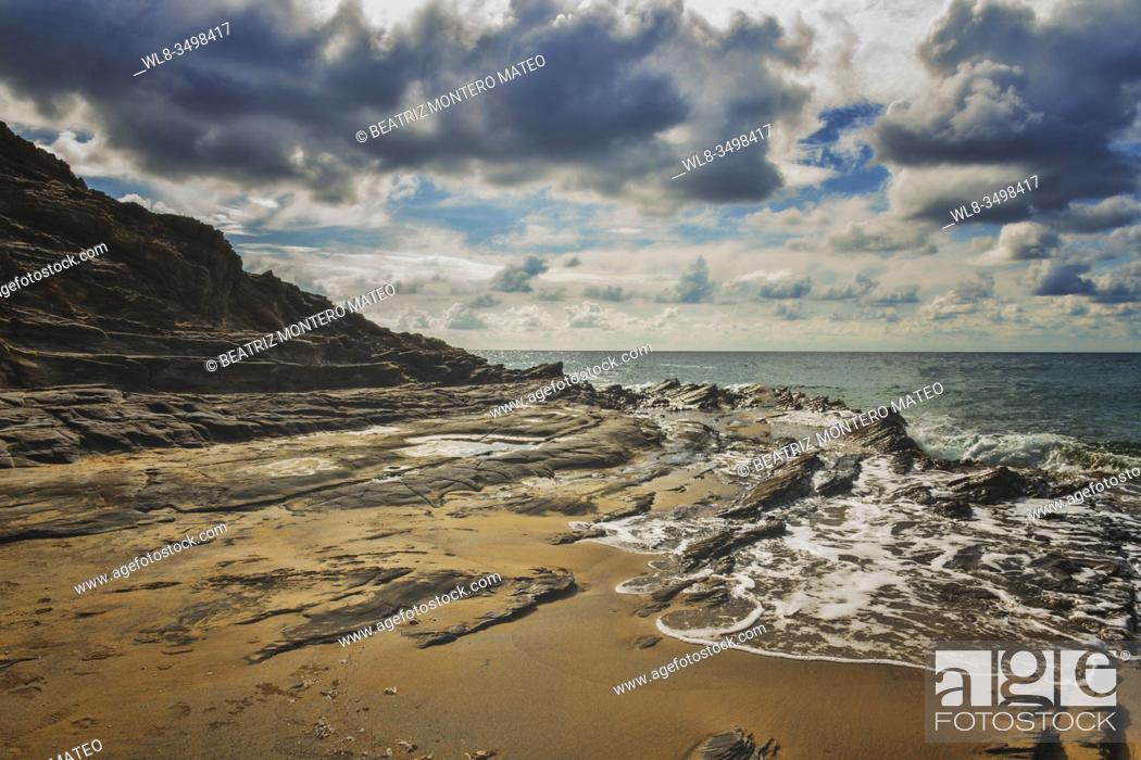 Stock Photo: Stones on the beach of Calblanque natural park in La Manga, Murcia (Spain).