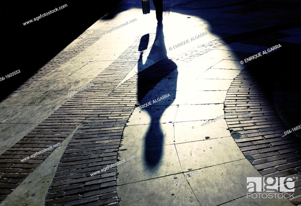 Stock Photo: Pedestrian shadow, Valencia, Spain.