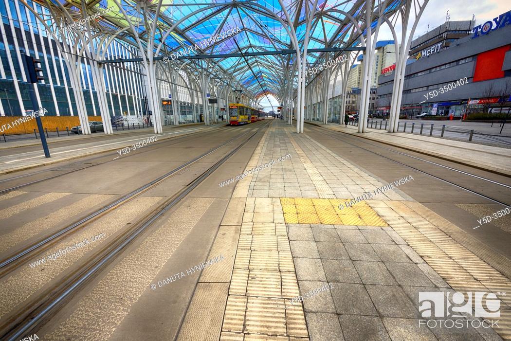 Stock Photo: Europe, Poland, Lodz, March 2020, empty streets of city center during the coronavirus pandemic, Tram interchange center - Centrum.