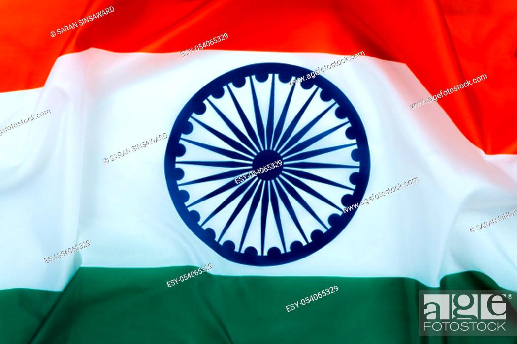 Photo de stock: National flag of India on white background for Indian Independence day. Top view, copy space for text.