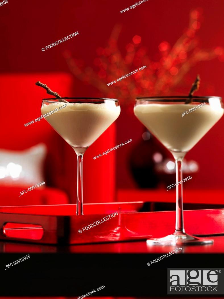 Stock Photo: Two cream cocktails in Martini glasses.