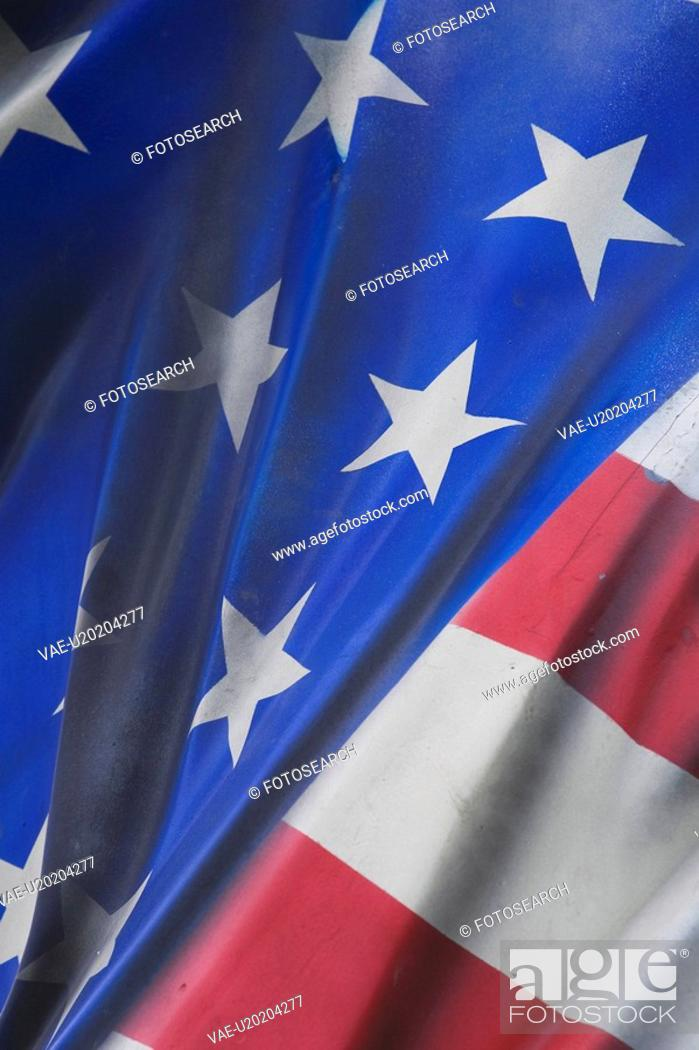Stock Photo: Blue, Flag, Fabric, Close-Up, American Flag.