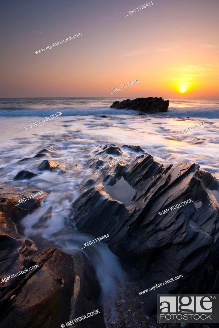 Stock Photo: Sunset at Dollar Cove, Lizard Peninsula, Cornwall England UK.
